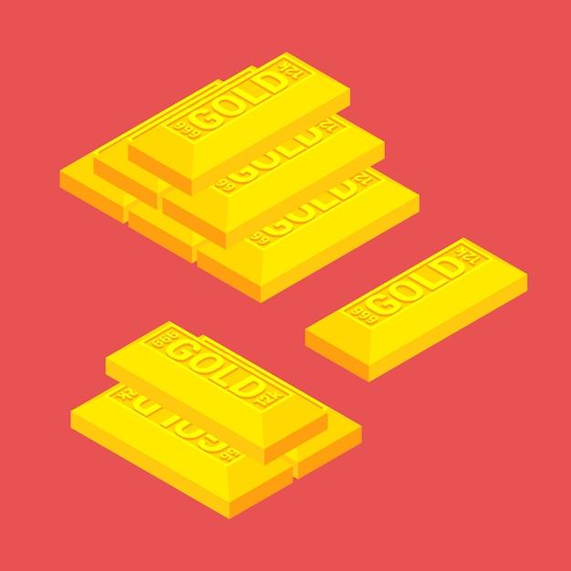 Barras de ouro isométricas sobre o fundo vermelho Vetor Premium