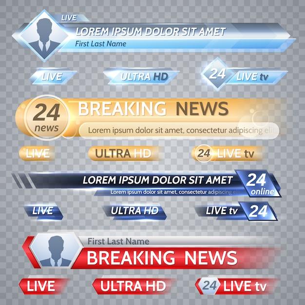 Barras de vetor de tv e gráficos de transmissão. banner de notícias para streaming de tv, transmissão de ilustração de vídeo de televisão Vetor Premium