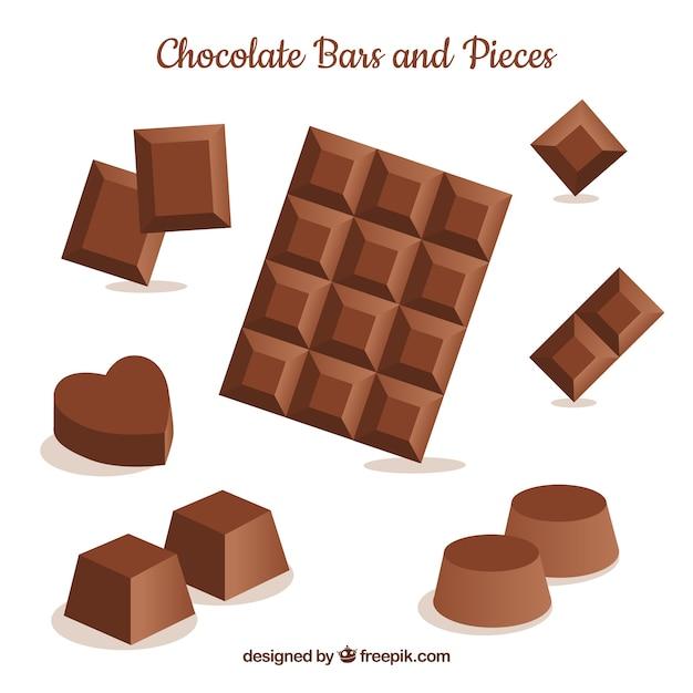 Barras e pedaços de chocolate Vetor grátis