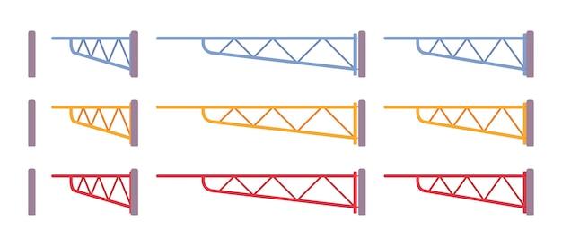 Barreira de batente manual. cerca em um parque de estacionamento ou estação ferroviária para controlar o acesso. embelezamento de rua da cidade, conceito de design urbano. estilo cartoon ilustração, posições diferentes Vetor Premium