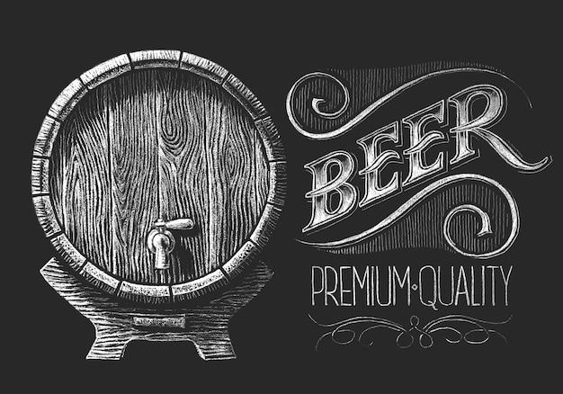 Barril de cerveja com coroa de trigo desenhada no quadro-negro Vetor Premium