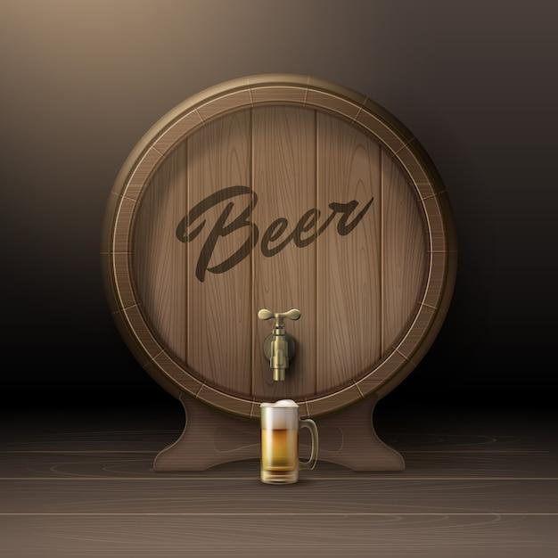 Barril de madeira de vetor antigo em rack com torneira de bronze e caneca de vidro com vista frontal de cerveja isolada no fundo Vetor grátis