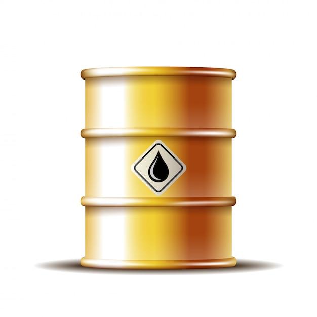 Barril de óleo de metal dourado com gota de óleo preto Vetor Premium