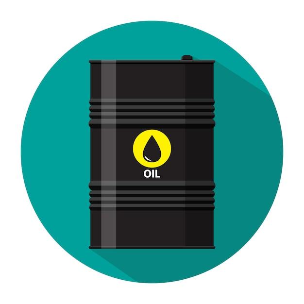 Barril de óleo de metal preto com ícone do logotipo Vetor Premium