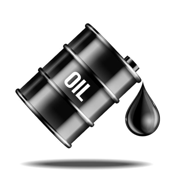 Barril de óleo preto com gota de óleo isolada no branco Vetor Premium