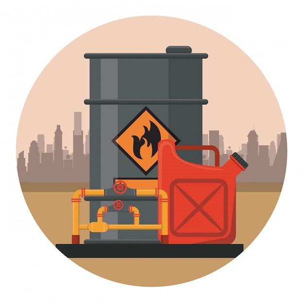 Barril de petróleo com óleo Vetor Premium