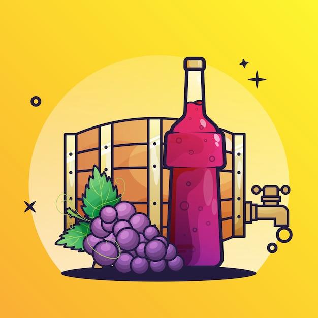 Barril de vinho e garrafas ícone Vetor Premium