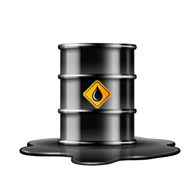 Barril preto com etiqueta de gota de óleo na poça derramada de óleo cru. ilustração em fundo branco Vetor Premium