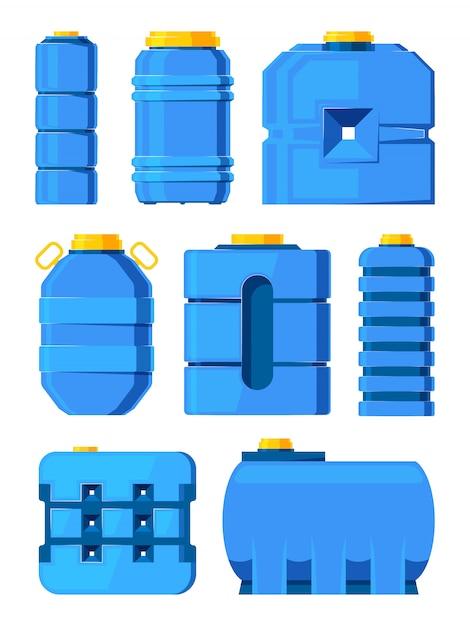 Barris de água. tanques de água diferentes isolados Vetor Premium