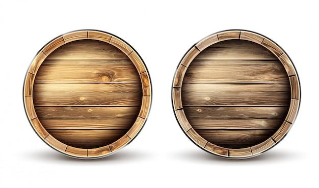 Barris de madeira para vista superior de vinho, cerveja ou uísque Vetor grátis