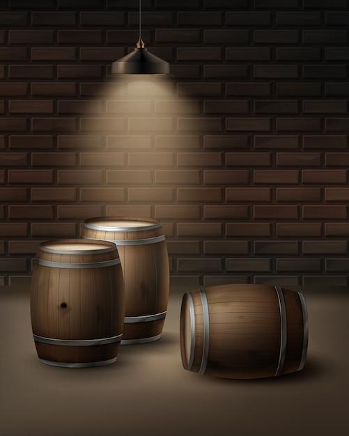 Barris de madeira vetoriais para vinho na adega isolada na parede de tijolos do fundo Vetor grátis