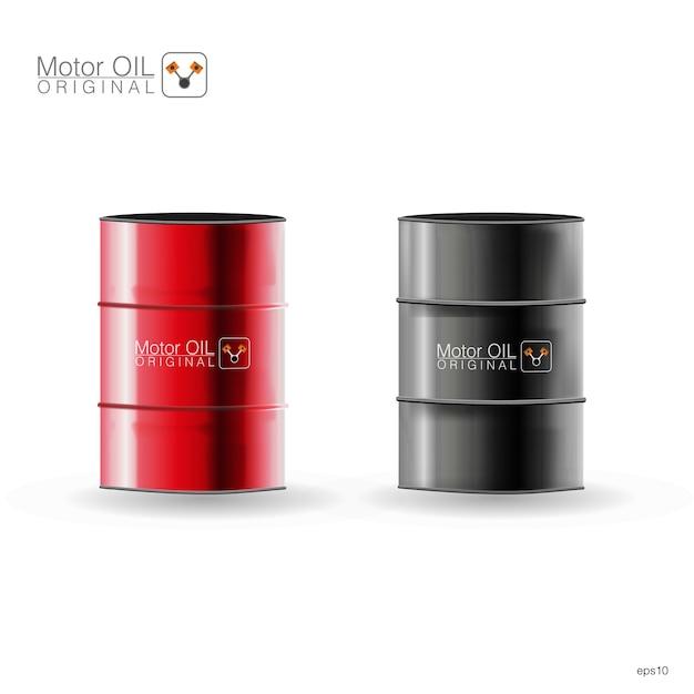 Barris de metal em fundo branco, ilustração Vetor Premium