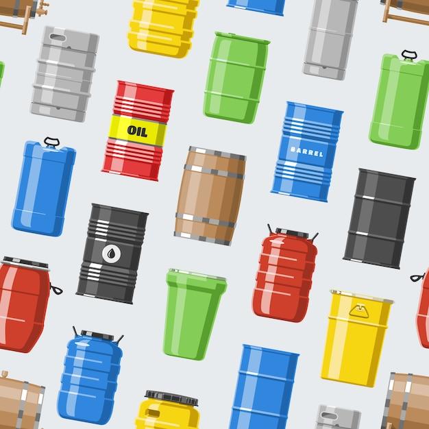 Barris de óleo de barril com combustível e vinho ou cerveja barril em barris de madeira álcool ilustração barreling em recipientes ou armazenamento sem costura de fundo Vetor Premium