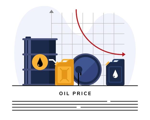 Barris e galões de óleo com infográfico de estatísticas Vetor Premium