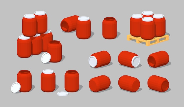 Barris lowpoly 3d de plástico vermelho Vetor Premium
