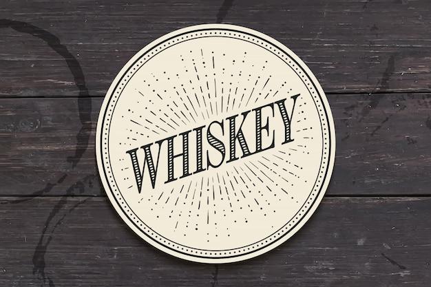 Base para copos de bebidas com inscrição whisky Vetor Premium