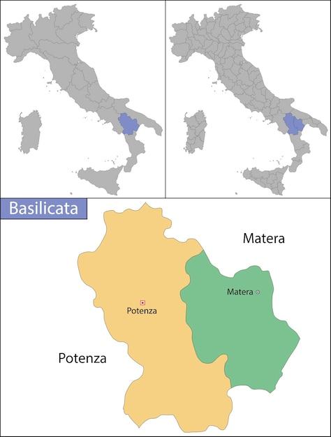 Basilicata é uma região administrativa no sul da itália Vetor Premium