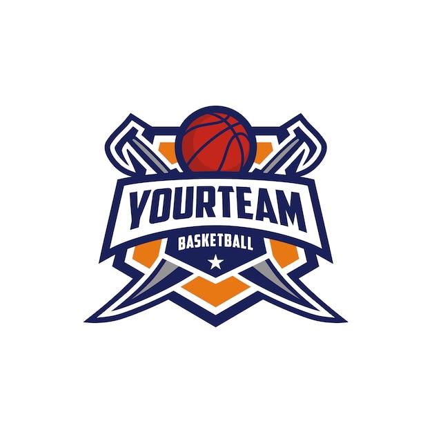 Basketball club emblem badge design de logotipo com espada Vetor Premium