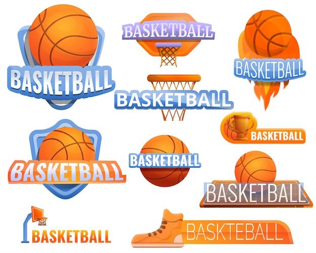 Basquete esporte logotipo conjunto, estilo cartoon Vetor Premium