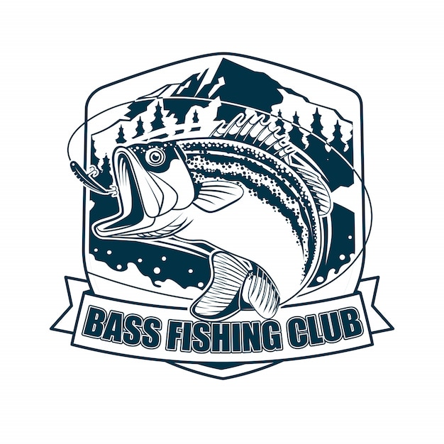 Bass fishing club Vetor Premium