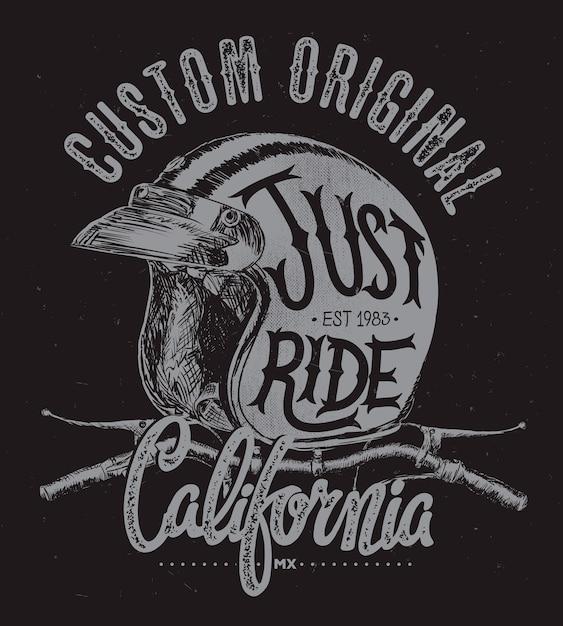 Basta montar capacete com guiador, t shirt estampado. Vetor Premium