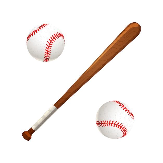 Bastão de beisebol e bolas isoladas no branco Vetor Premium
