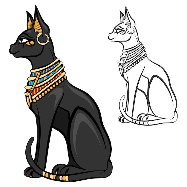 Bastet da deusa gato do egito. deus egípcio, estatueta antiga sentada, felino estátua negra, estatueta de souvenir, ilustração vetorial Vetor grátis