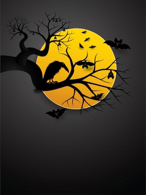 Bastões de halloween e corvo à noite com lua cheia. Vetor Premium