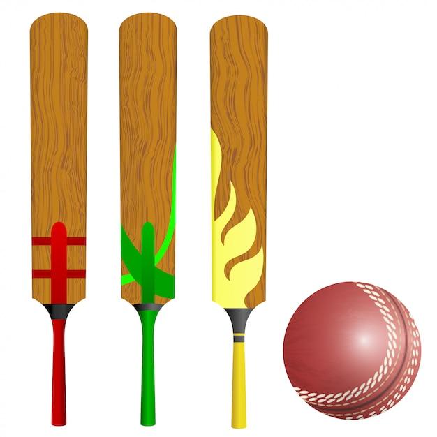 Bastões e bola de críquete Vetor Premium