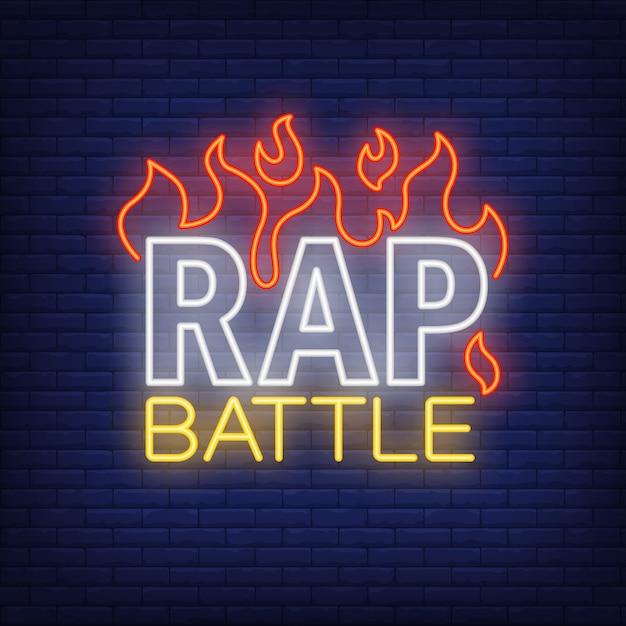 Batalha de rap neon texto e fogo. sinal de néon, anúncio brilhante da noite Vetor grátis