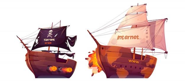 Batalha entre torrent e internet, luta no mar Vetor grátis