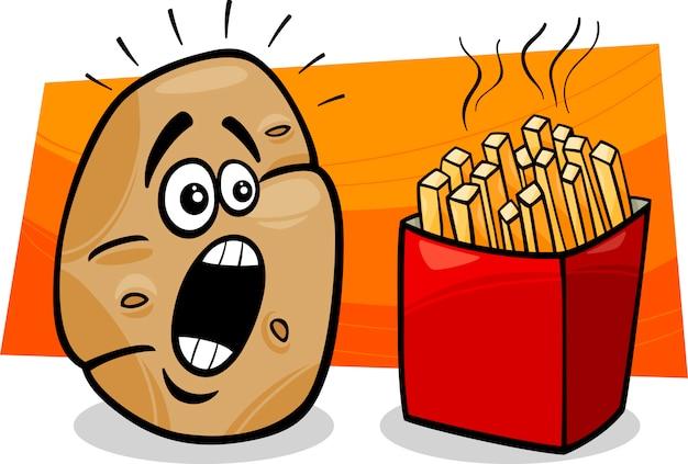 Batata Com Desenhos Animados De Batatas Fritas