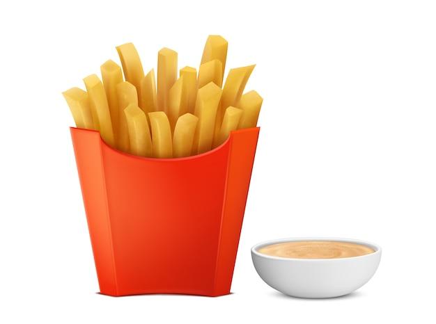 Batatas fritas 3d realistas na caixa de papel vermelho, condimento mayochup na bacia Vetor grátis