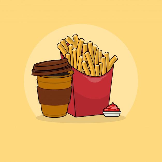 Batatas fritas com ilustração de clipart de café. conceito de clipart de fast food isolado. vetor de estilo cartoon plana Vetor Premium