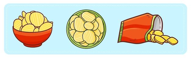 Batatas fritas engraçadas e saborosas em estilo cartoon Vetor Premium
