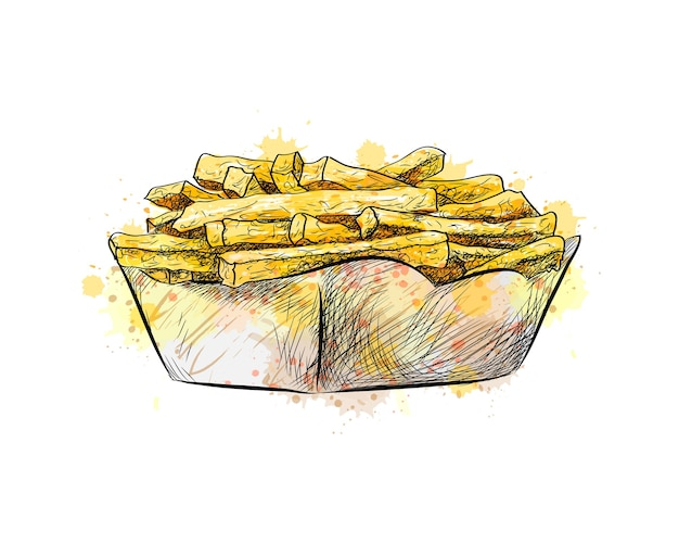 Batatas fritas na cesta de papel de um toque de aquarela, esboço desenhado à mão. ilustração de tintas Vetor Premium