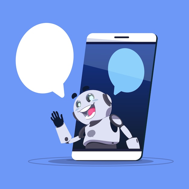 Bate-papo bot app do suporte laboral na bandeira esperta do molde do telefone com espaço da cópia, conceito virtual do serviço da web do bate-papo ou do chatterbot Vetor Premium