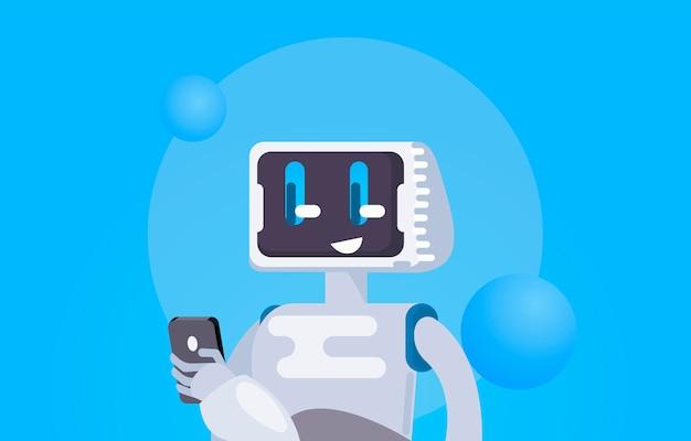 Bate-papo bot free wallpaper. o robô segura o telefone, responde a mensagens. Vetor grátis