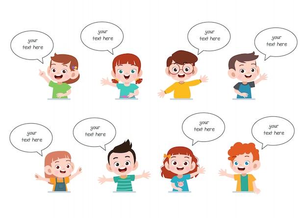 Bate-papo de balão de discurso de crianças Vetor Premium