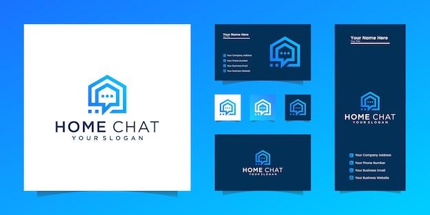 Bate-papo doméstico criativo combina ícone casa, conversa e bolha e cartão de visita Vetor Premium
