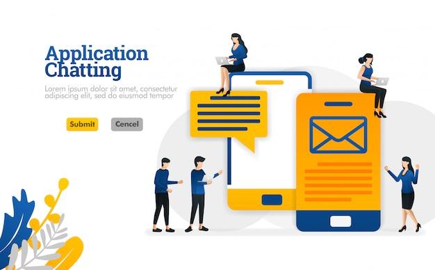 Bate-papo e aplicativos de conversação para o envio de mensagens de e-mail e e-mail conceito de ilustração vetorial Vetor Premium