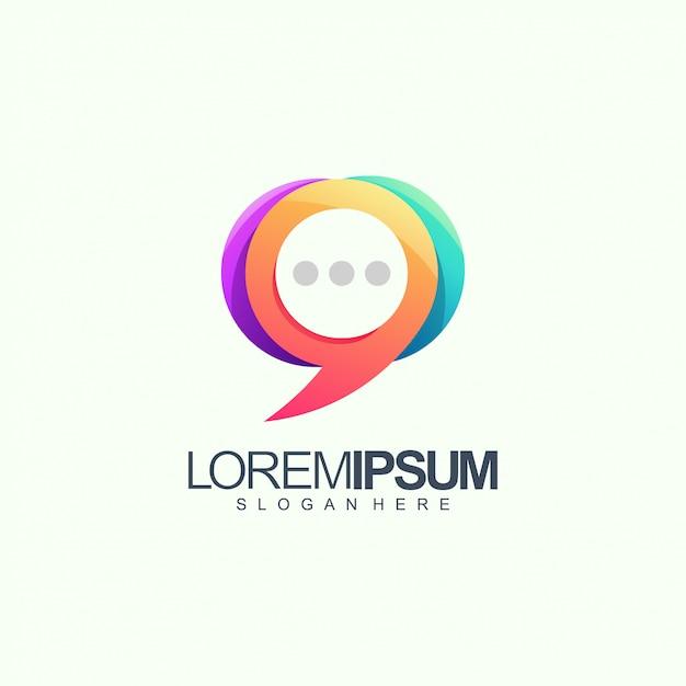 Bate-papo logo design vector ilustração Vetor Premium