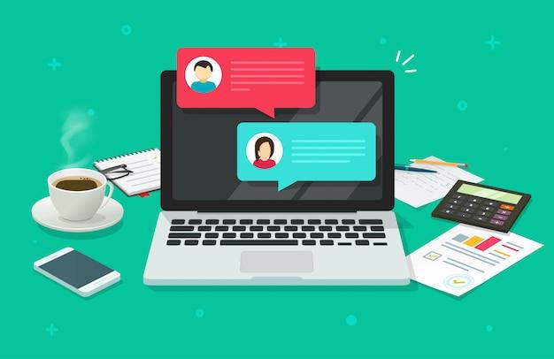 Bate-papo mensagens no computador portátil on-line na mesa de trabalho mesa vista superior cartoon ilustração Vetor Premium