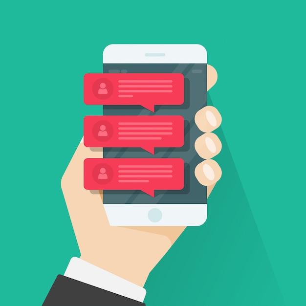 Bate-papo notificações notificações telemóvel, smartphone vermelho conversando discursos bolha Vetor Premium