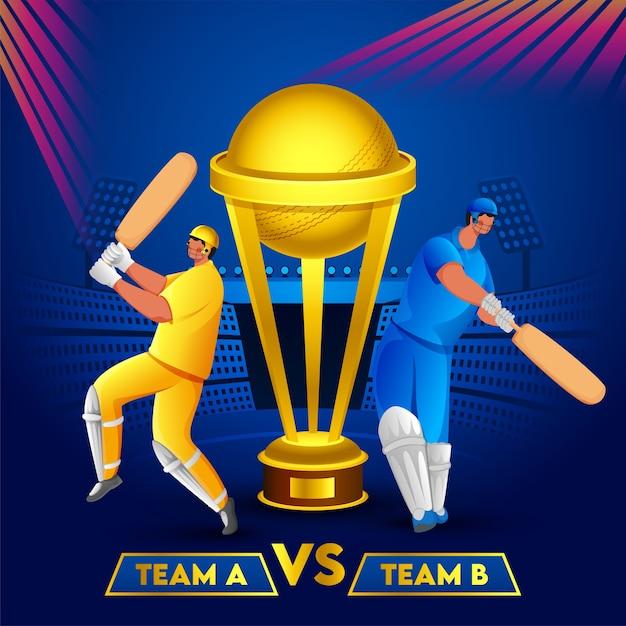 Batedores de críquete da equipe a e equipe b e golden trophy cup no fundo do estádio azul. pode ser usado como pôster. Vetor Premium
