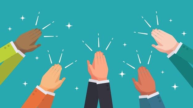 Batendo palmas de mãos do grupo étnico do vetor de pessoas de negócios Vetor Premium