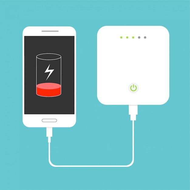 Bateria fraca. smartphone carregando com banco de potência externo. conceito de dispositivo de armazenamento de banco de dados. design plano. ilustração. Vetor Premium