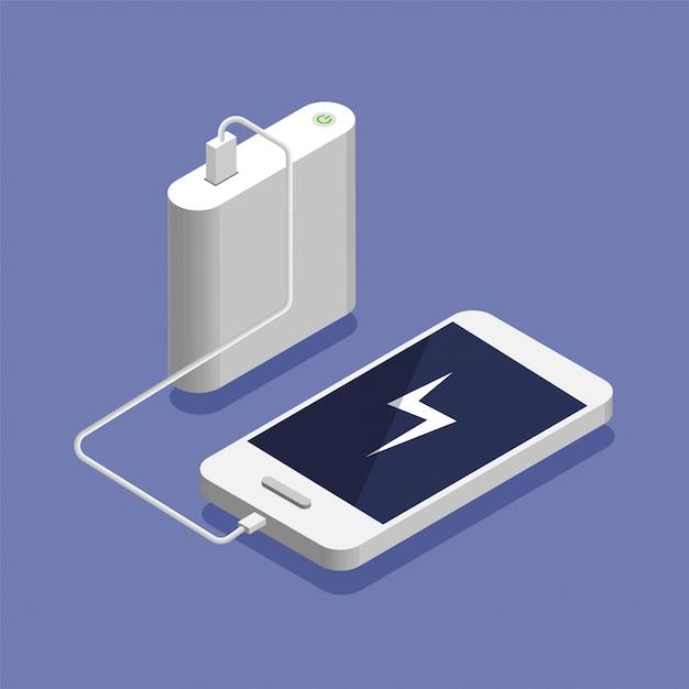 Bateria fraca. smartphone isométrico cobrando com banco de potência externo. conceito de dispositivo de armazenamento de banco de dados, ilustração. Vetor Premium