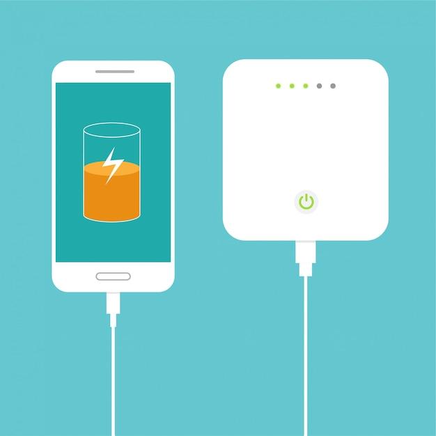 Bateria quase cheia. smartphone carregando com banco de potência externo. conceito de dispositivo de armazenamento de banco de dados. design plano. ilustração. Vetor Premium