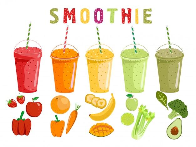 Batido de frutas e legumes. smoothies de desenhos animados em um estilo. smoothie de laranja, morango, amora, banana e abacate. shake de frutas e legumes orgânicos. ilustração. Vetor Premium